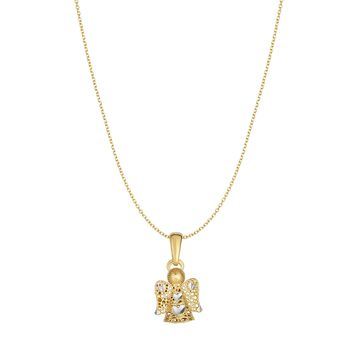 """14k Yellow Gold Angel Pendant Chain Necklace, 18"""""""