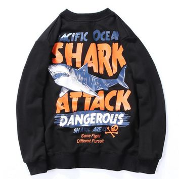 Fashion Women Men Casual Shark Pattern Letter Print Top Sweater Black