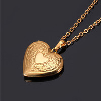 Romantic Heart Locket & Necklace in Genuine 18K Gold or Platinum Plating, Three Style Choices