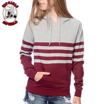 New fashion stripe hooded long sleeve sweater Gray