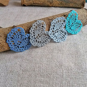 Little blue crochet heart Appliques shapes small hearts Pineapple pattern Beautiful ananas motif crocheted lace Embellishments ornaments