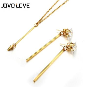 JOVO Exclusive Long Bar Crystal Necklace & Earrings Jewelry Set Trendy Silver Color Simple Jewelry Set for Women Birthday Gift