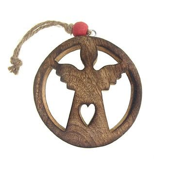 Hanging Wood Circle Angel Christmas Tree Ornament with Heart, Natural, 4-Inch