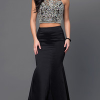 Long Two Piece Jewel Detailed Top Prom Dress