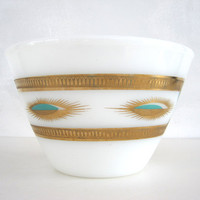 Mid Century Bowl Mixing Spill Proof Fire King Fred Press Aqua Gold 1950s