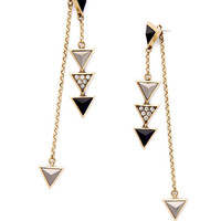 Geometric Triangle and Chain Ear Jackets -Luxe Black