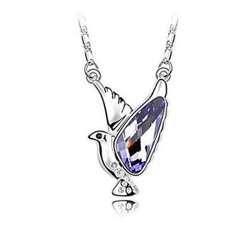 Purple Dove Shaped Design Crystal and Platinum Plated Alloy Necklace