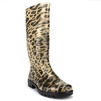 Chemistry Women's W503 Tall Leopard Print Rubber Weather Proof Rain Boots