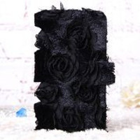 Pretty 3D Flowers Pattern Wallet Style TPU+PU Leather Case for iPhone 6 Plus 5.5 inch (Black)