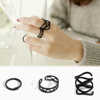 3Pcs Fashion Ring Set Black Stack Plain Above Knuckle Open Ring Band Midi Rings Women Jewelry = 1706403588