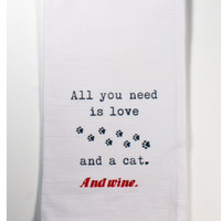 "Honestly Flour Sack Kitchen / Bar Towel - ""Cat and Wine"""