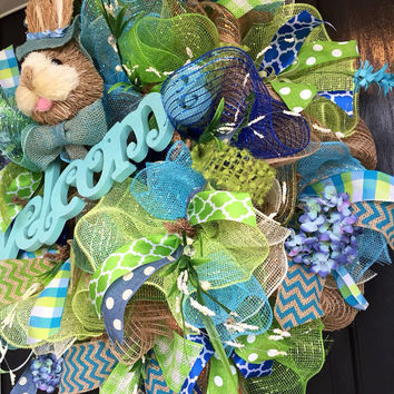 Spring deco mesh wreath, Easter Deco Mesh Wreath,  bunny deco mesh wreath, deco mesh wreath, spring mesh wreath, Spring burlap wreath,
