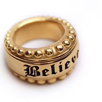 Personalized ring,  sterling silver gold plated, believe ring, Statement Ring,  wide ring , statement jewelry, Steampunk Ring, chunky ring