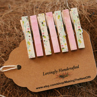 Clothespin Pink Set - Wood Clothes Pin set of 7