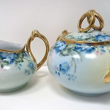 Antique German Porcelain Sugar Creamer Signed Hand Painted Bavaria M Boyer