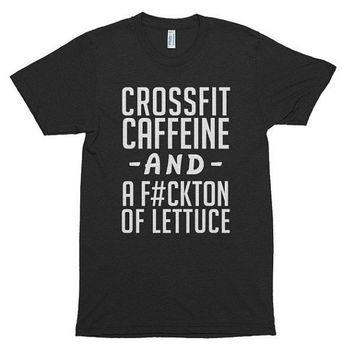 CrossFit Caffeine and a Fuckton of Lettuce, soft t-shirt, gift, workout, funny, music, festival, gym, beach, fitness, abs, diet