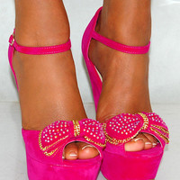 LADIES SUEDE BOW FUCHSIA HOT BRIGHT PINK PLATFORMS WEDGES HIGH HEELS SHOES 3-8