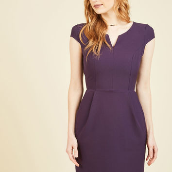 Cove Conference Sheath Dress in Aubergine | Mod Retro Vintage Dresses | ModCloth.com
