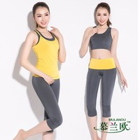 Yoga suit  female  sports slim vest three quarter shorts dance clothes gym  running clothes three suit