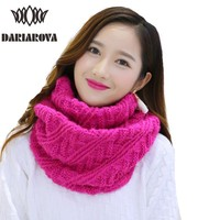 Women Winter Warm Knitted Scarves Collar Cachecol Twill Ring Crochet Infinity Scarf