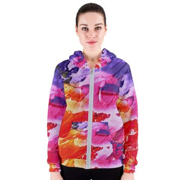 Red Purple Paint Women's Zipper Hoodie