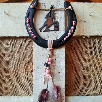Cowgirl Gifts, Horseshoe Decor, Horseshoe Art, Southwest Inspired, Equestrian Gifts, Horse Decor, Rustic Metal, Western Decor, Barrel Racing