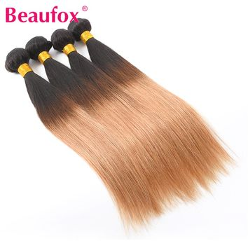 Beaufox Ombre Peruvian Straight Human Hair Weave T1B/27 2 Tone Ombre Hair Can Buy 3 Or 4 Bundles 8-28 Inches Non-remy Hair