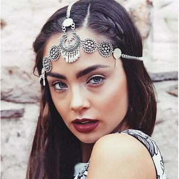 Silver Vintage Tassel Hair Jewelry Metal Coin Headband Long Punk Head Chain Piece Forehead Headpiece For Women Girls Accessories