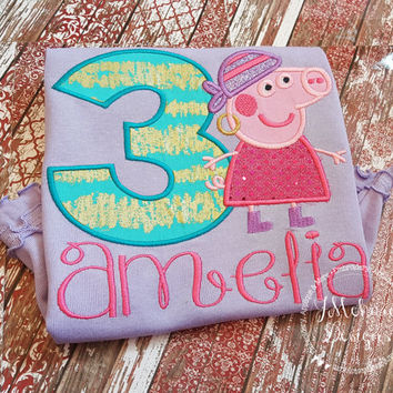 Pirate Peppa Pig Birthday Custom Tee Shirt - Customizable -  Infant to Youth