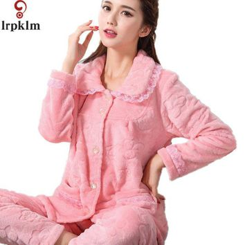 DCCKL3Z 2017 Flannel Fleece Winter Women Pajama Sets Pajamas Pijama Pyjama Women Feminino Pijama Mujer Pijamas Entero Pyjamas SY233