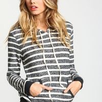 Spring Autumn New Arrivals Women Hoodies Long Sleeve Hedging Hooded Sweatshirts Casual Gray White Striped Sweatshirts 1029