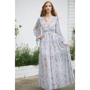 Margot Floral Long Sleeve Maxi Dress