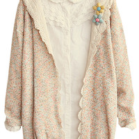 Heather Lace Panel Open Front Hooded Cardigan