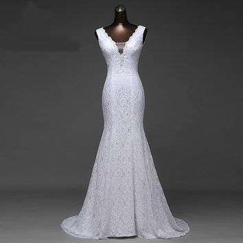very beautiful  lace Sexy  romantic mermaid  wedding dress backless ball gowns