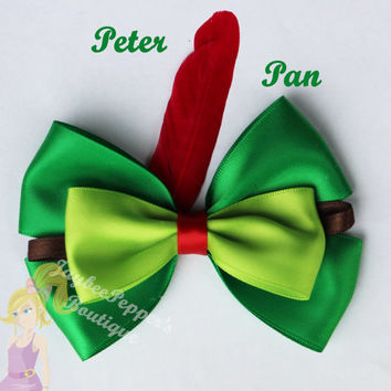 Peter Pan hair bow disney hair clip girls cute disney inspired hair bow green red feather