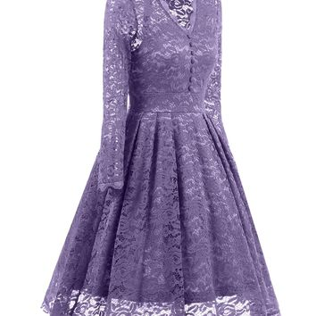 Wine Red violet Women Sexy Lace Cocktail Dress V Neck Long Sleeve Knee-length Party Dress Short Summer Lace Dress with Button