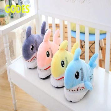 Winter new cute cartoon shark cotton slippers women 's anti - slip thick - walled warm personality plush home Mianxie