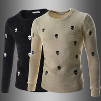 Skull Print Men's Designer Knit Sweater
