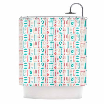 "afe images ""Abstract Pattern"" Coral Blue Illustration Shower Curtain"