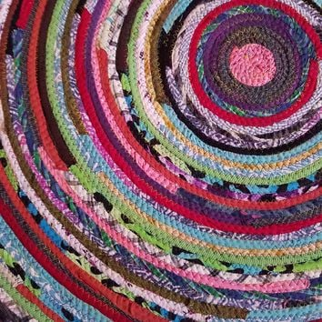 3' Colorful Round Rug, Handmade to Order YOU Choose Colors! Gypsy Boho Bohemian Upcycled