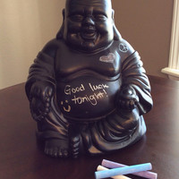 Big Happy Chalkboard Buddha Statue