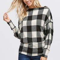 Dolman Sleeve Buffalo Plaid with Zipper Detail Top - Ivory