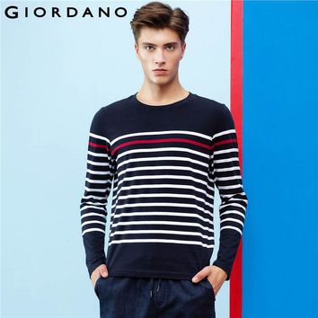 Giordano Men Striped  T-shirt Ribbed Crewneck Tops Long-sleeves Pure Cotton Heather Tee Shirt Fashion Young Hombre Tee