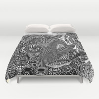 UNDER THE SEA I BLACK AND WHITE DOODLE ART Duvet Cover by Martywoodskk