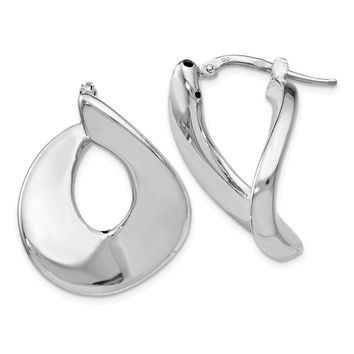 Large Polished Freeform Hoops in Sterling Silver, 33mm (1 1/4 in)