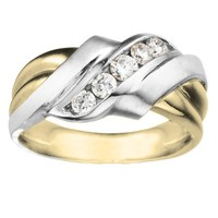 1/2ct tw Diamond Wedding Ring in 14K Yellow & White Gold - Men's Wedding Rings - Wedding Rings