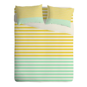 Allyson Johnson Mint And Chartreuse Stripes Sheet Set Lightweight