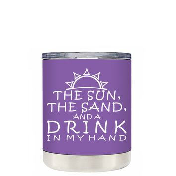 TREK The Sun The Sand and a Drink in my Hand on Lavender 10 oz Lowball Tumbler