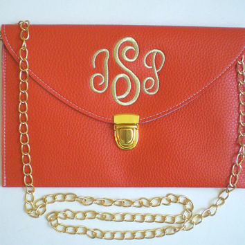 Monogram Clutch Purse with Detachable Chain Personalized Gift