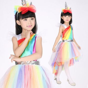 Children's Rainbow Unicorn Costume Set (Dress and Headband)